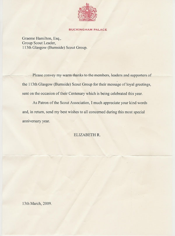 Letter from HM the Queen